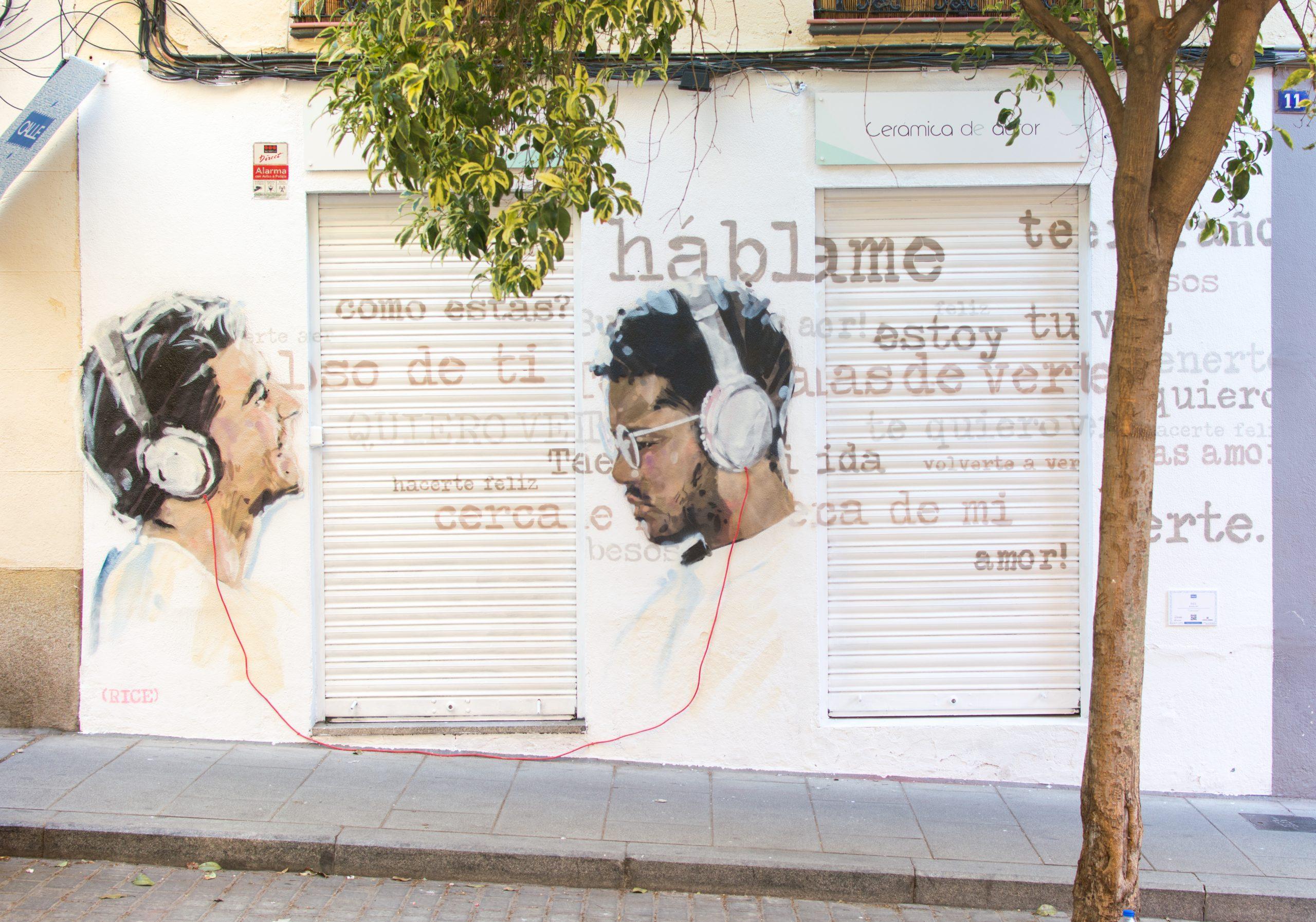 Guillermo de la Madrid/Madrid Street Art Proyect. Obra: Llamadas de Rice (obra de C.A.L.L.E. 2020)