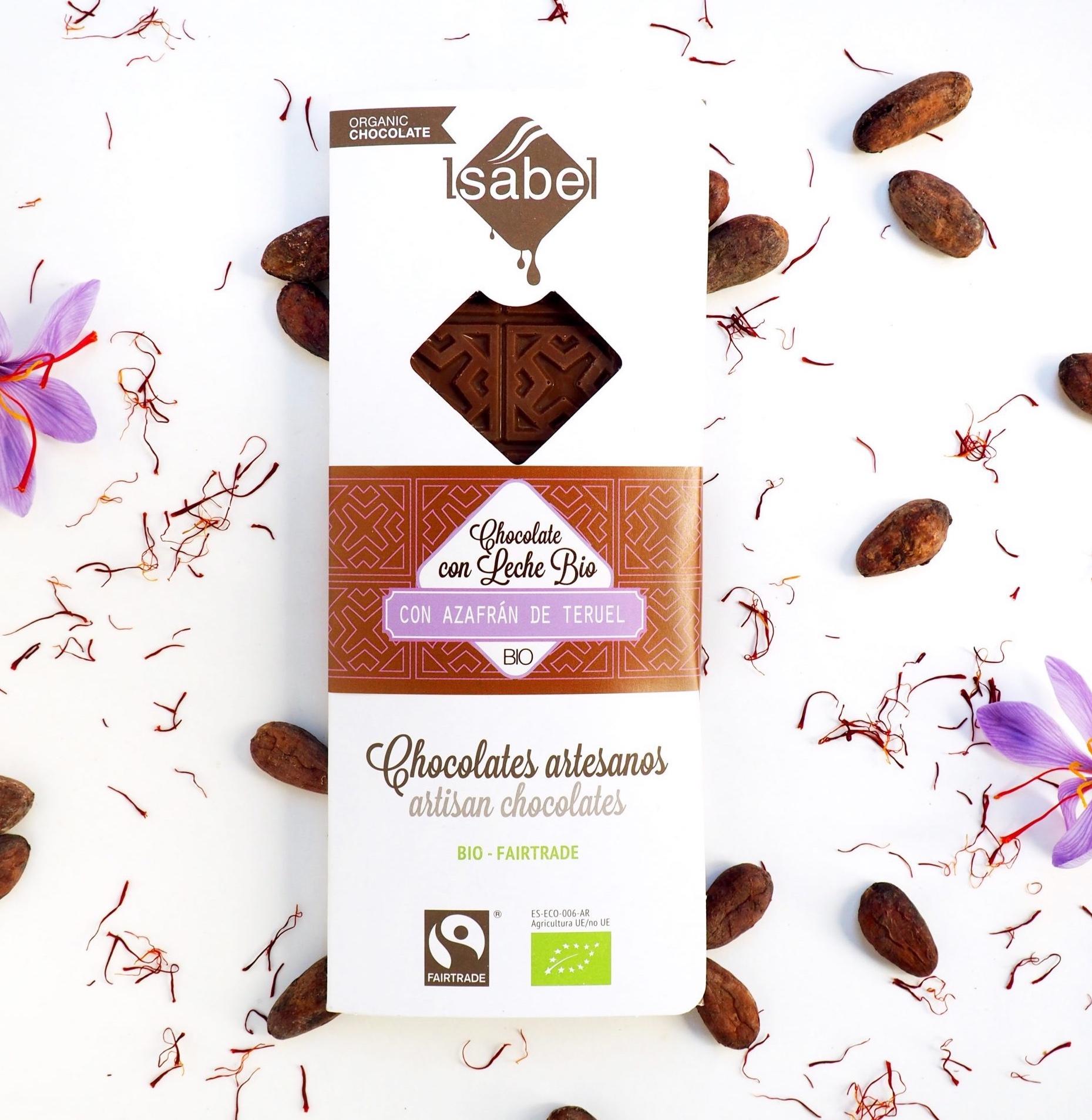 Tableta de Chocolates Artesanos Isabel con azafrán de Teruel